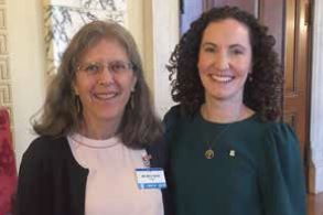 Audubon Senior Director of Policy Meg Kerr with Senator Bridget Valverde