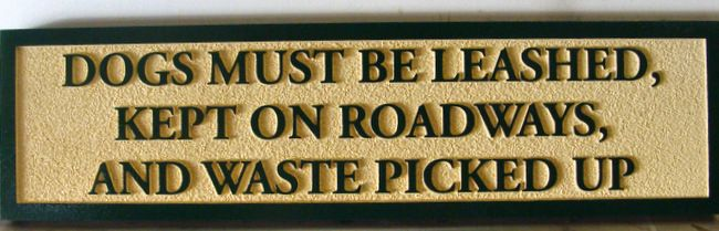 GC16330 - Carved High-Density-Urethane (HDU) Rules Sign (Dogs must be leashed)  for a Cemetery