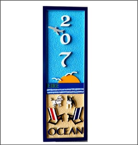 L21038 - Carved 2.5-D HDU Beach House Address Sign (Narrow Width), with Two Chairs and Dogs facing Ocean