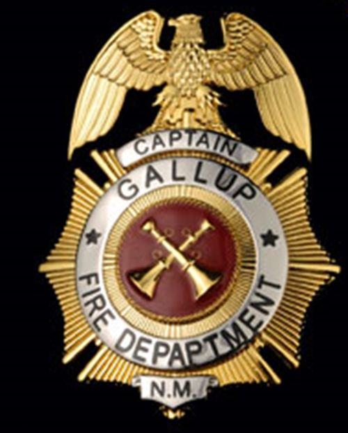 QP-1075 - Carved Wall Plaque of the Badge of a  Fire Department Captain, Gallup, New Mexico, with Gold  Leaf Gilding