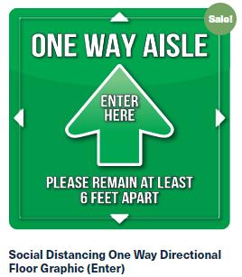 One Way Green Floor Graphic