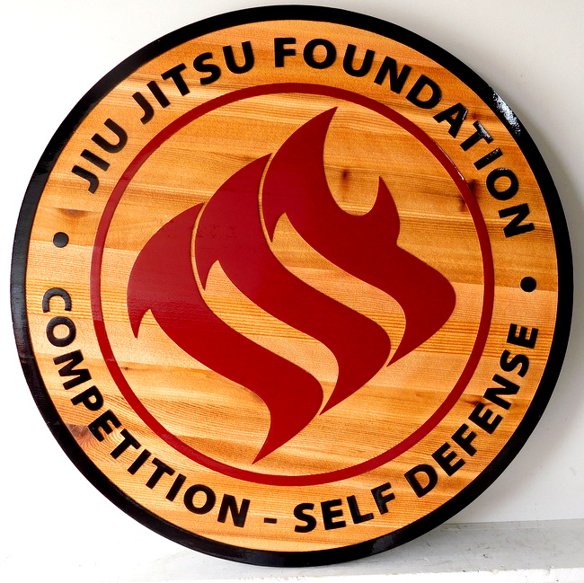 M3812- Carved and Sandblasted Cedar Wood Sign with Logo for Jiu Jitsu Foundation Competition and Self Defense (Gallery 28A)