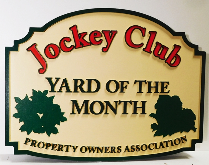 "KA20959- Carved Yard-of-the-Month Sign for ""Jockey Club"" HOA"