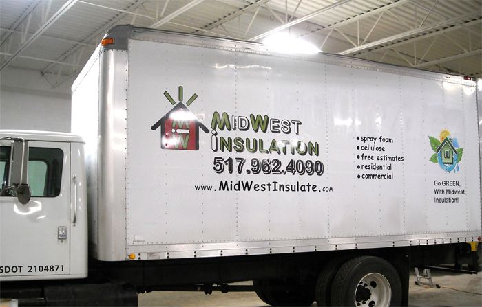 Service truck lettering and full color logo print.