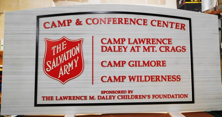 G16332 - Carved and Sandblasted HDU Entrance Sign for the Salvation Army Camp & Conference Center.