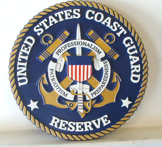 NP-1320- Carved Plaque of the Great Seal of the US Coast Guard Reserve, 2.5-D Artist Painted