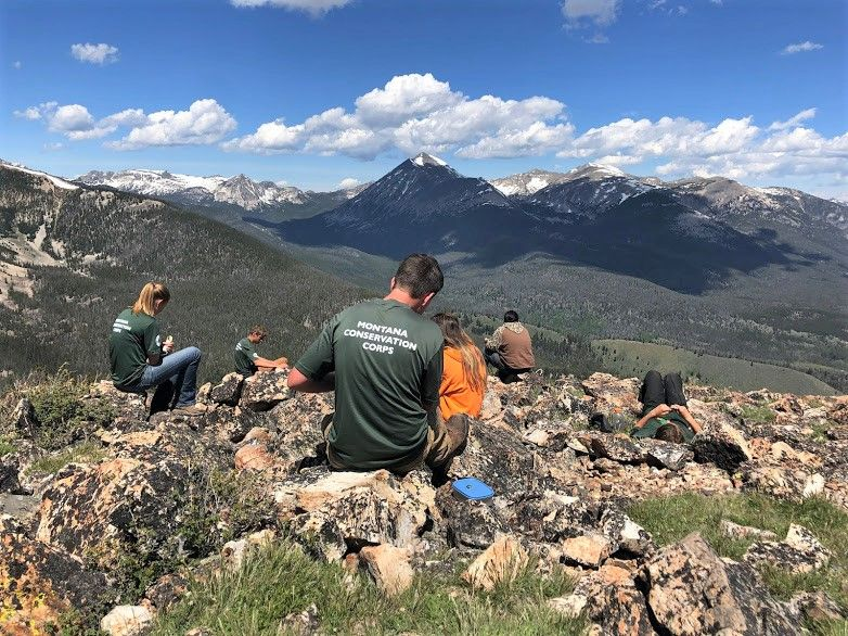 Greater Yellowstone youth crew having dinner around station campground.  Lunch with a  View