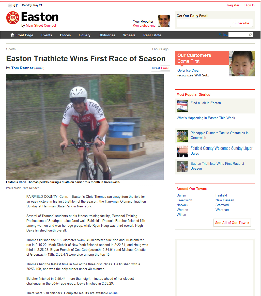 Easton Triathlete Wins First Race of Season | The Daily Easton | May 21, 2012