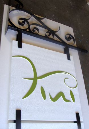 SA28324 -Beauty Boutique Blade Sign with Wrought Iron Scroll Bracket