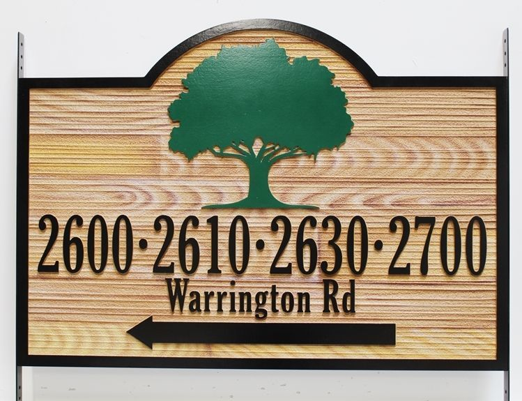 I18337 - Carved 2.5-D Directional Address Sign for  Warrington Road Residences, with Faux Wood Carving and Painting
