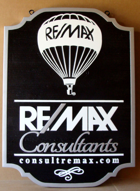 VP-1280 - Carved Wall Plaque of the Logo of RE/MAX,  Artist Painted
