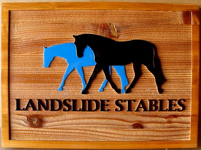 P25045 - Carved, Cedar Wood Sign For Horse Stables with Raised, Carved, 2 1/2-D with Horses and Block Letters