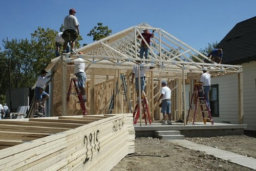 Construction of a Habitat home.