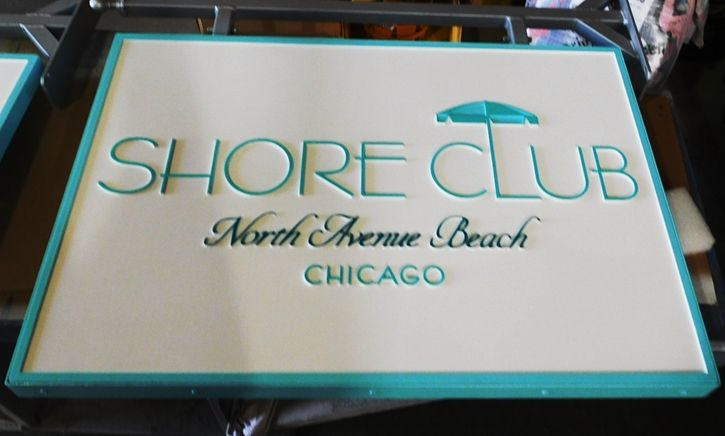 "L21087 - Carved HDU Sign for the ""Shore Club"" on thhe coast in Chicago"