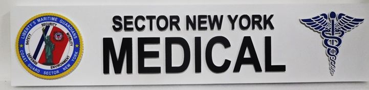 B11094 - Carved  Sign for the US Coast Guard's Sector New York Medical Office, 2,5-D Artist-Painted