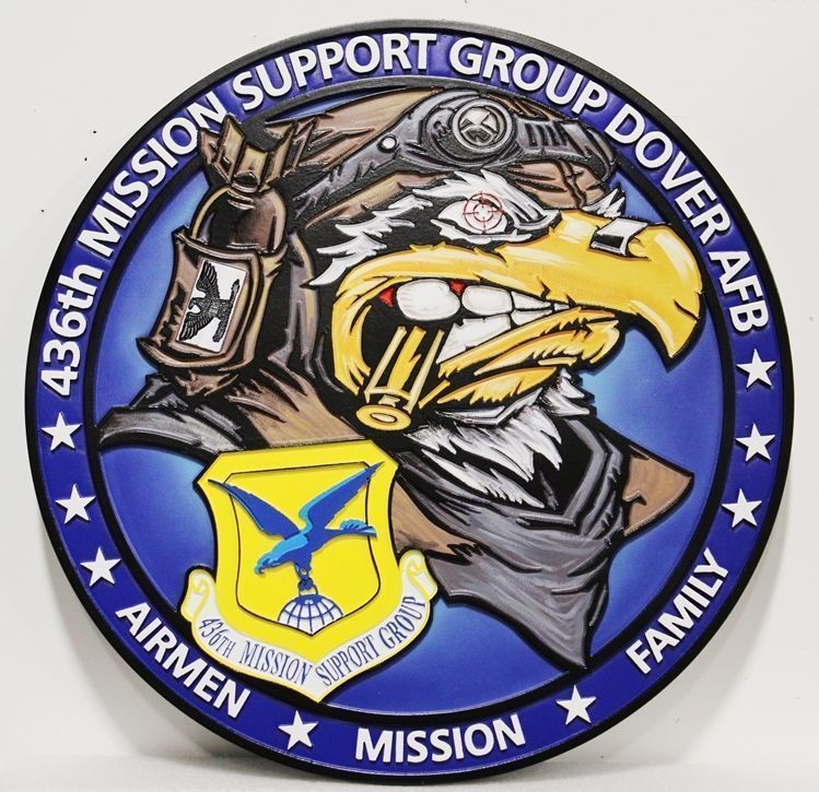 V31654 - Carved  2.5-D HDU Plaquefor the 436th Mission Support Group, of Dover AFB