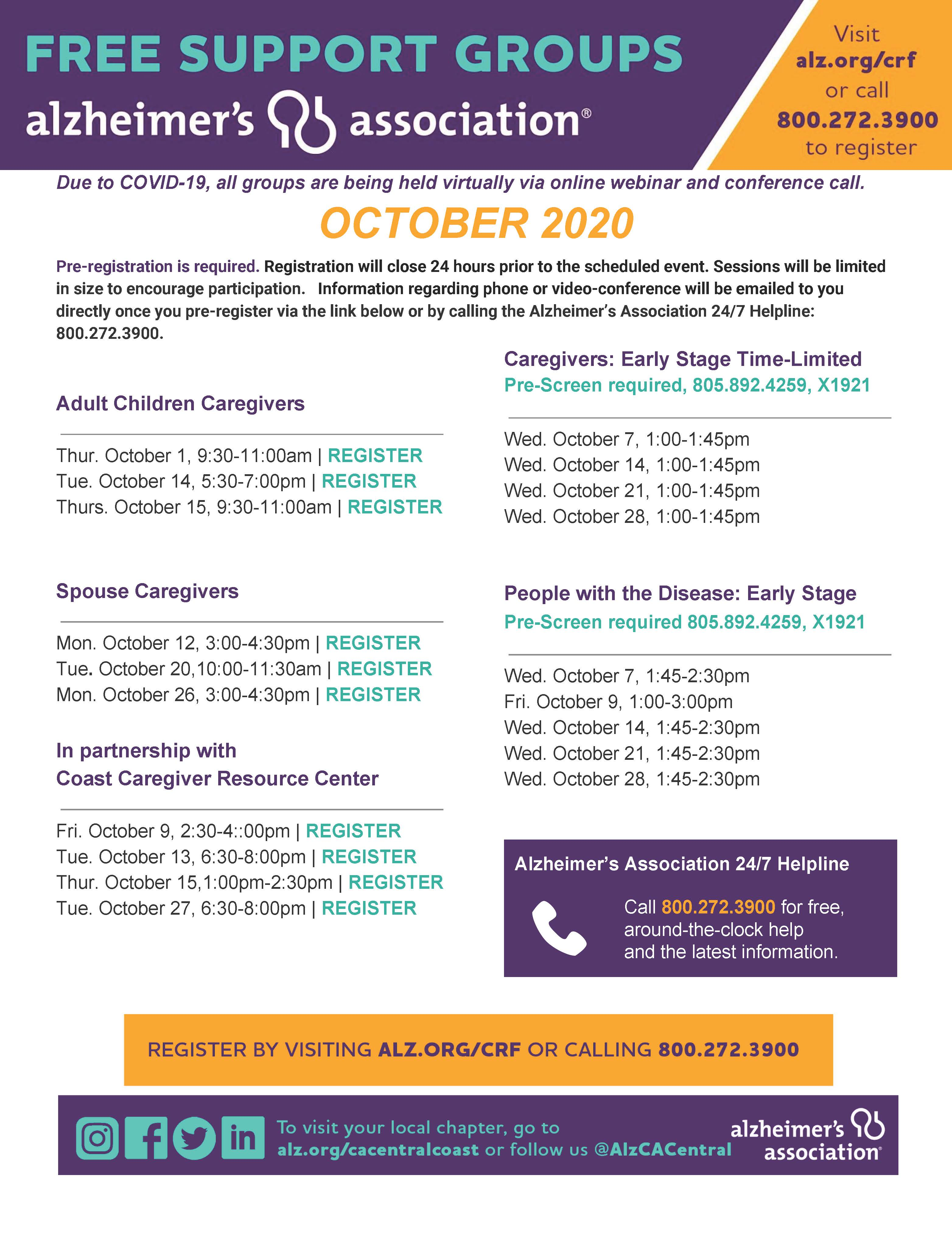 Alzheimer's Association Free Support Group Classes
