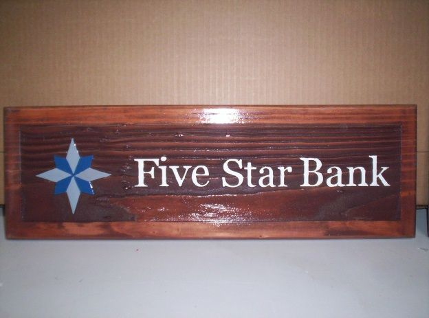 SB28805 - Carved and Sandblasted Redwood Desk Plaque for Five Star Bank.