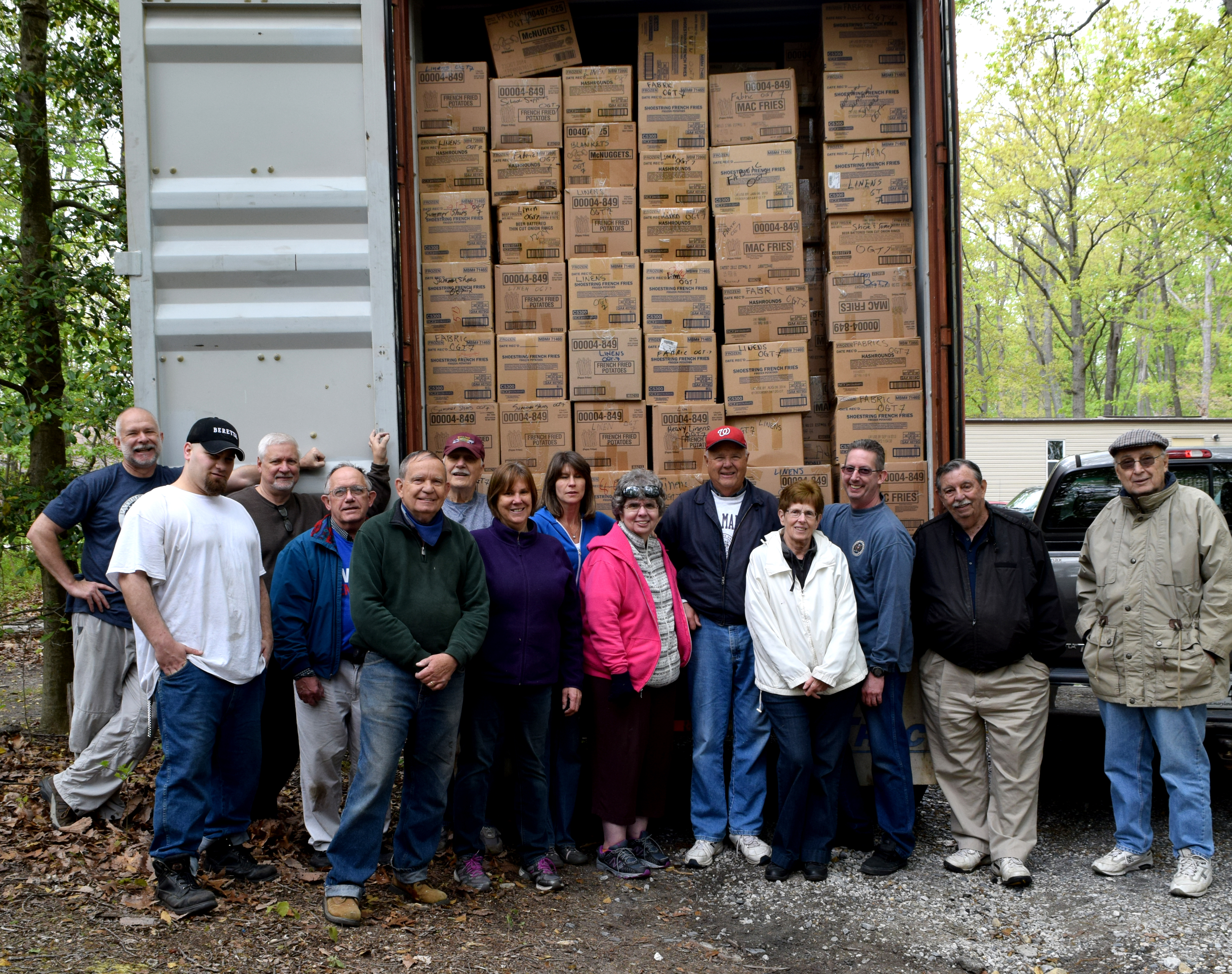 Maryland Branch Volunteers done loading shipment for Philippines.