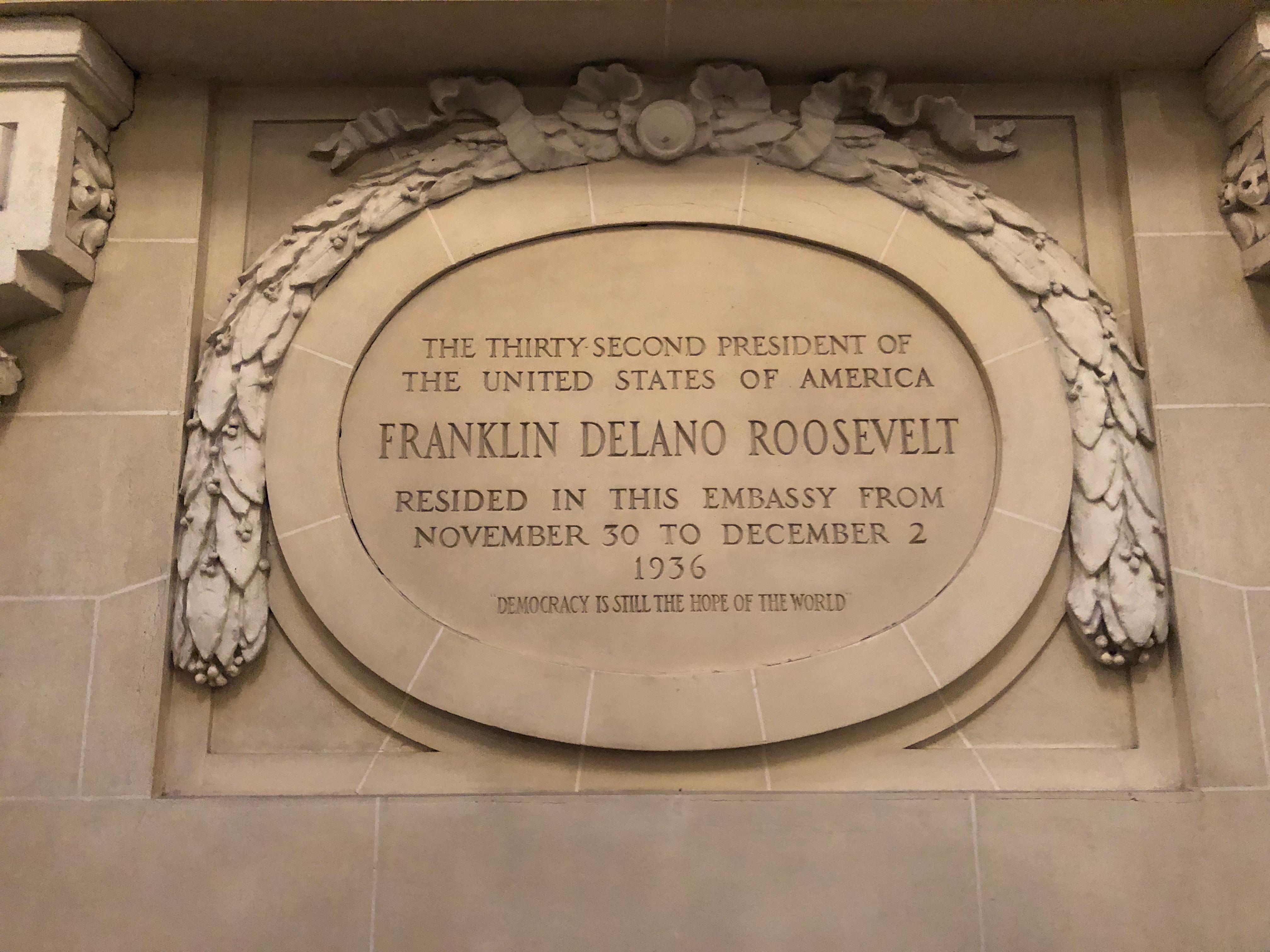 Plaque for Franklin Delano Roosevelt