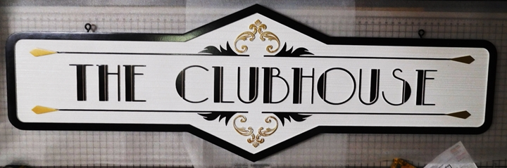 "KA20608 - Stylized and Ornate ""The Clubhouse"" Hanging Sign, Carved on 2.5-D with Sandblasted Wood Grain Background"