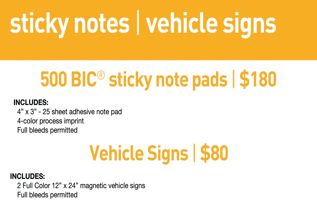 SBB Sticky Notes & Vehicle Magnets- Std lead time 7-10 business days