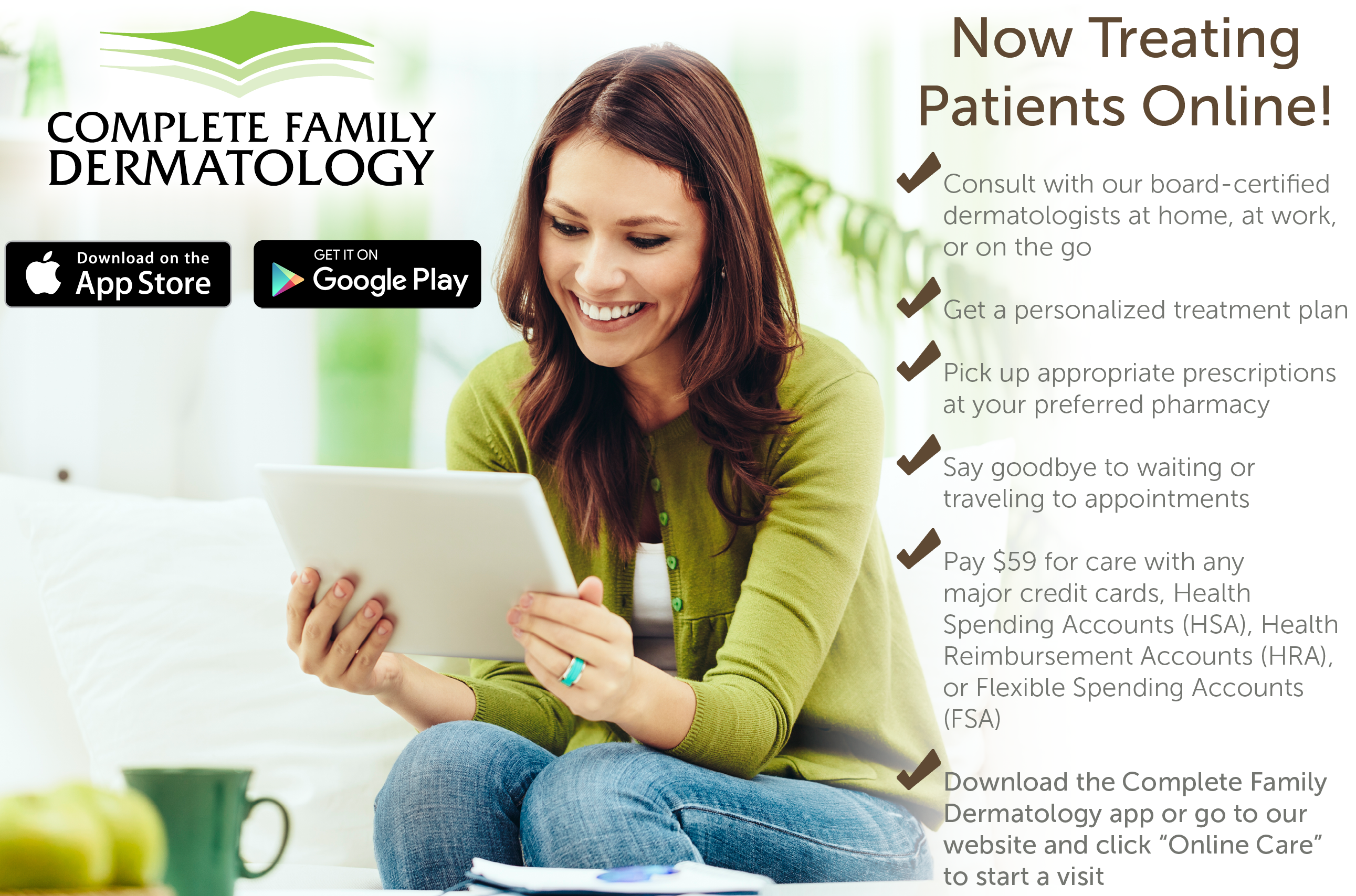 New online care at Complete Family Dermatology!!