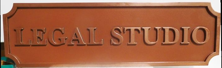 "A10497 - Carved  Sign for the ""Legal Studio"", 2.5-D Copper-Plated Text"