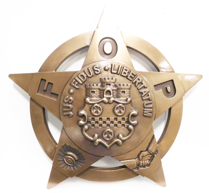 PP-1486 - Carved Plaque of the Star Badge Emblem of the Fraternal Order of Police, Bronze Plated (dark version)