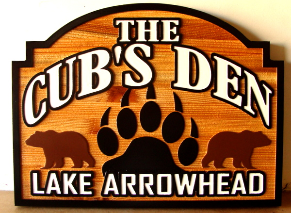 "M22878 - Carved and Sandblasted Cedar Wood  House Sign, ""The Cubs Den"",  with Bears and Pawprint"