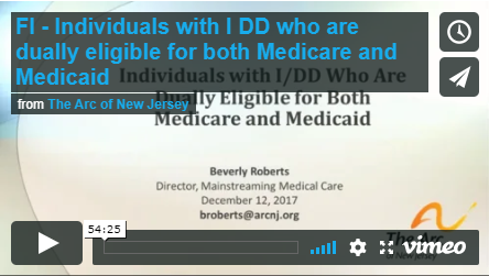 2018 The Dual Eligibles: Persons with Intellectual and Developmental Disabilities (I/DD) Who Have Both Medicaid and Medicare