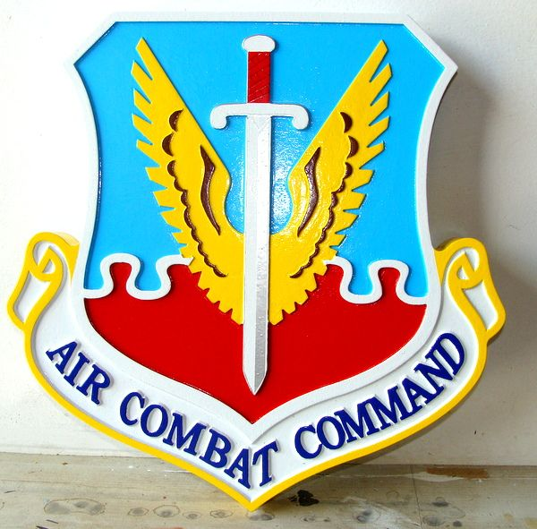 V31582 - Carved Wood Shield Wall Plaque of Crest of Air Combat Command
