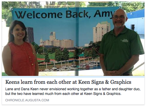 Keen Signs Featured in The Augusta Chronicle