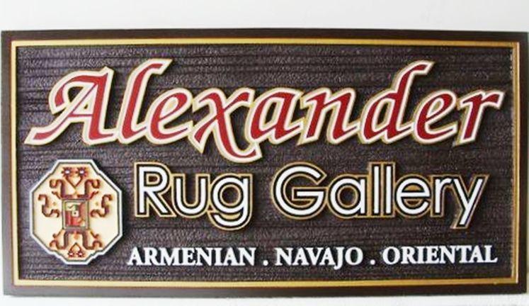 S28118 - Sandblasted, Woodgrain Sign for Armenian, Navajo  and Oriental Rug Gallery