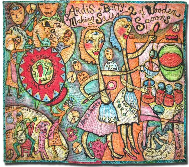 'Ardis and Betty: Making Salsa - 2 of Wooden Spoons in the Kitchen Tarot,' made by Susan Shie, dated 2011, 85.25 x 74.5 in, IQSCM 2011.064.0001