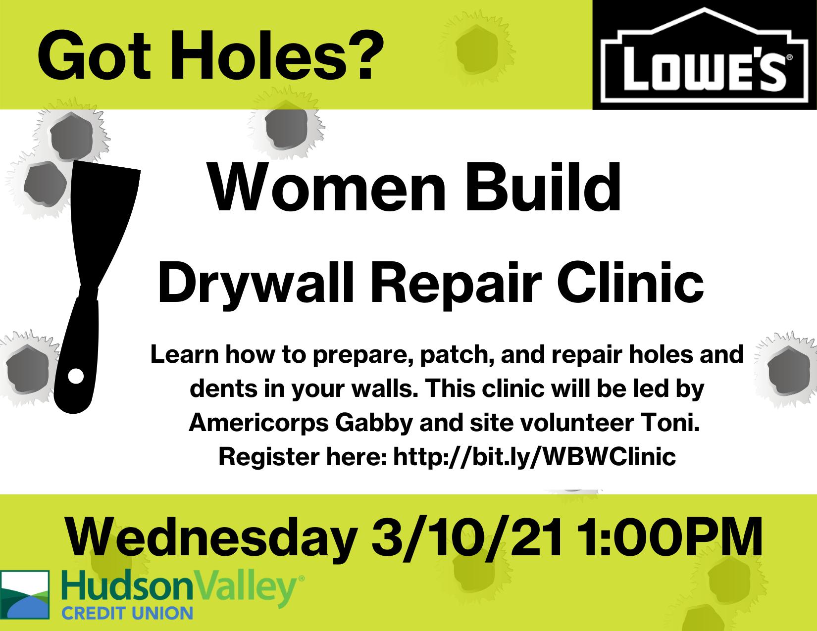 Women Build Drywall Repair Clinic