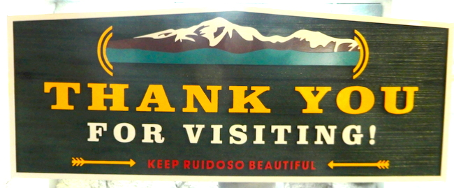 "F15022 - Carved HDU Mountain  Park Exit Sign:  ""Thank you for Visiting"""