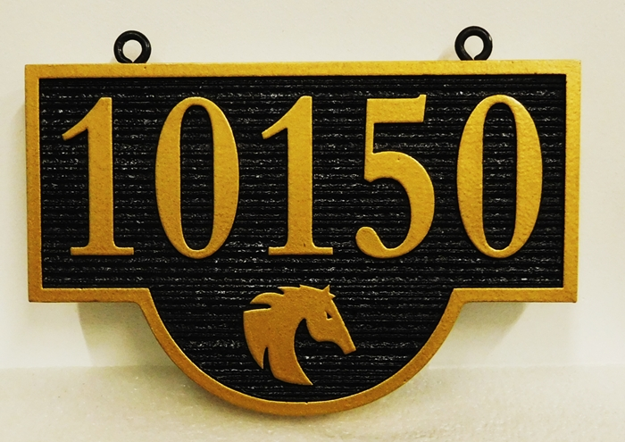 P25380- Carved and Sandblasted Address Number Sign with a  Silhouette of a Head of a Horse as Artwork