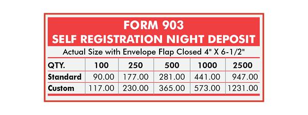 903 Form/Envelope Pricing