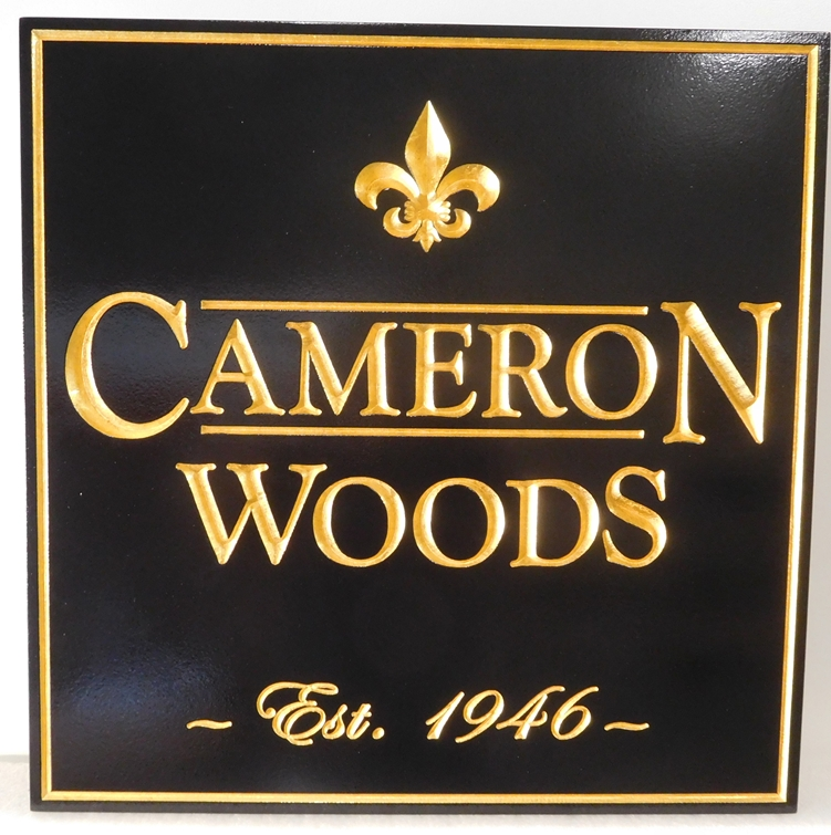 K20076 -- Elegant and Formal 3D Sign  with Gold Leaf Fleur-de-Lis and Text, for Cameron Woods  Apartments