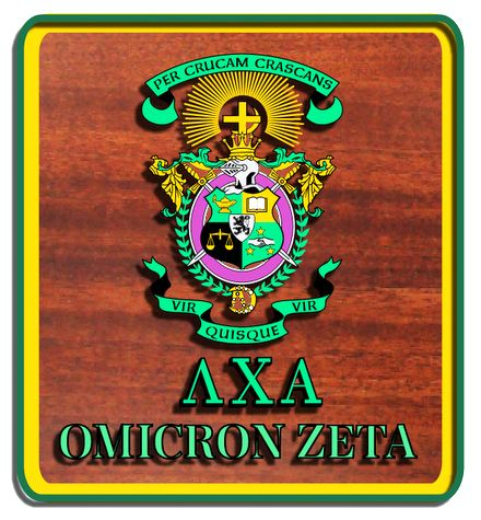 SP-1520 - Engraved  Wall Plaque of  Lambda Chi Alpha Coat-of-Arms,  Artist Painted on Mahogany Wood