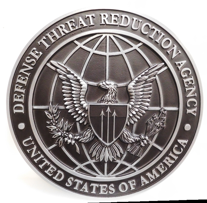 IP-1722 - Carved Plaque of the Seal of the  Defense Threat Reduction Agency, 3-D Aluminum Plated