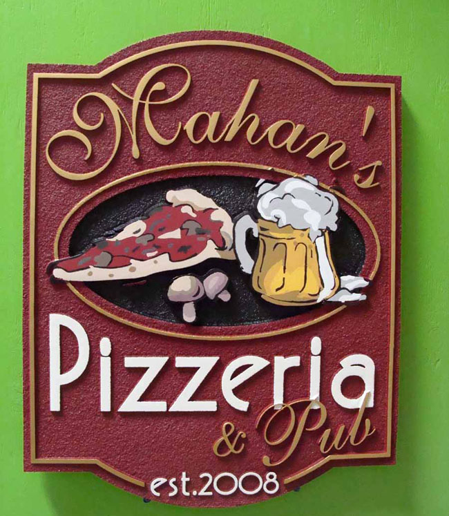 Q25214 - Carved HDU (or Wood) Pizzeria and Pub Restaurant Sign with Carving of Pizza, Beer and Mushroom