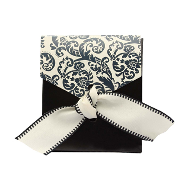 Black and Ivory Flourish Favor Boxes