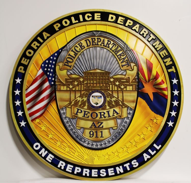 PP-1003 - Carved  HDU Plaque of the Badge  of the Police Department of Peoria,   Arizona, 2.5-D Multi-Level Raised Relief, Artist-Painted