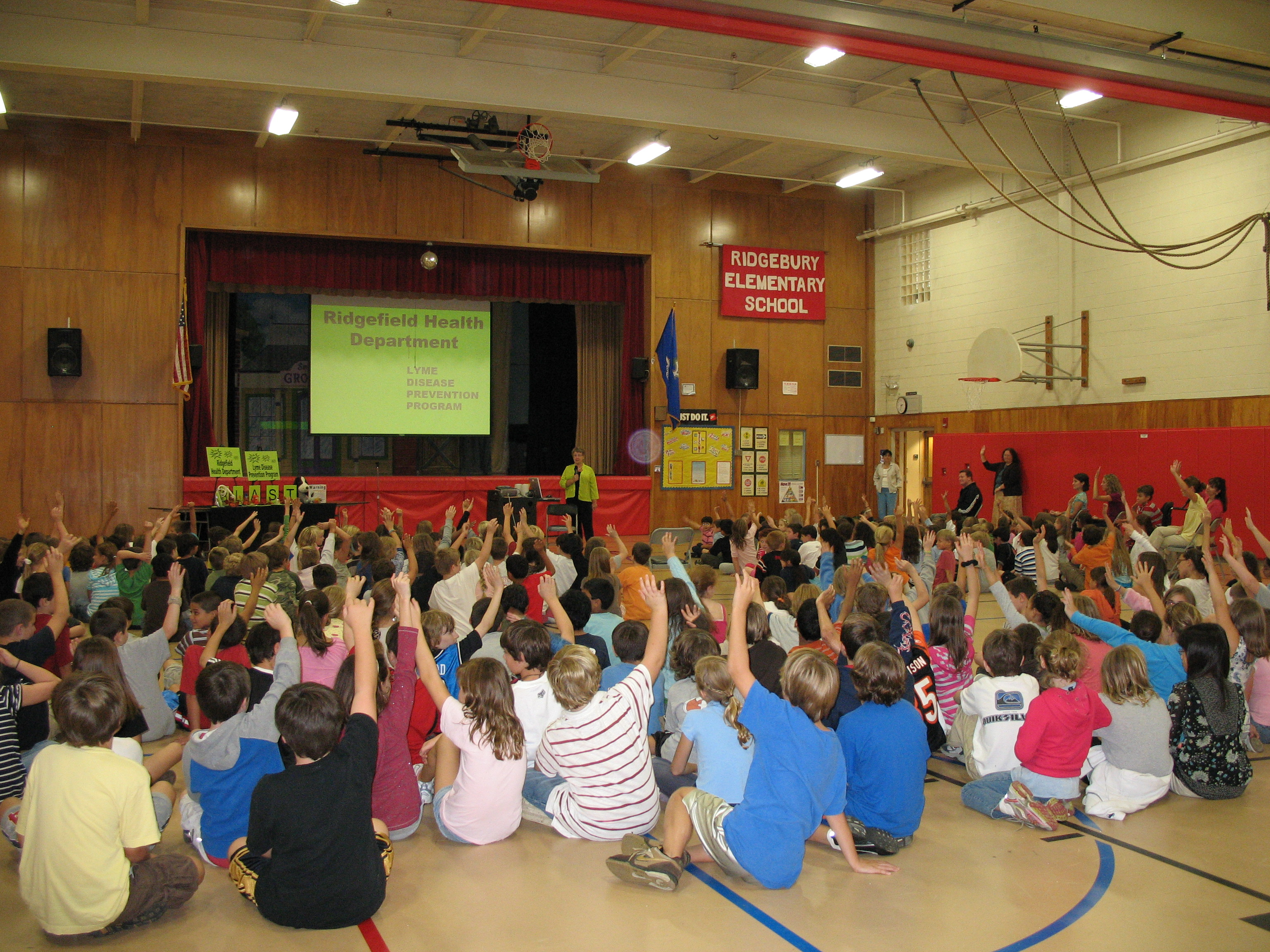 Children at Scotland School in Ridgefield learn tickborne disease prevention tips from the BLAST educators.