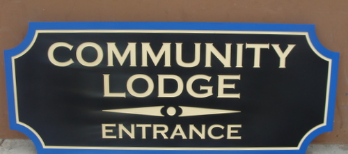 F15048 - Carved wooden (or HDU) Lodge Entrance Sign