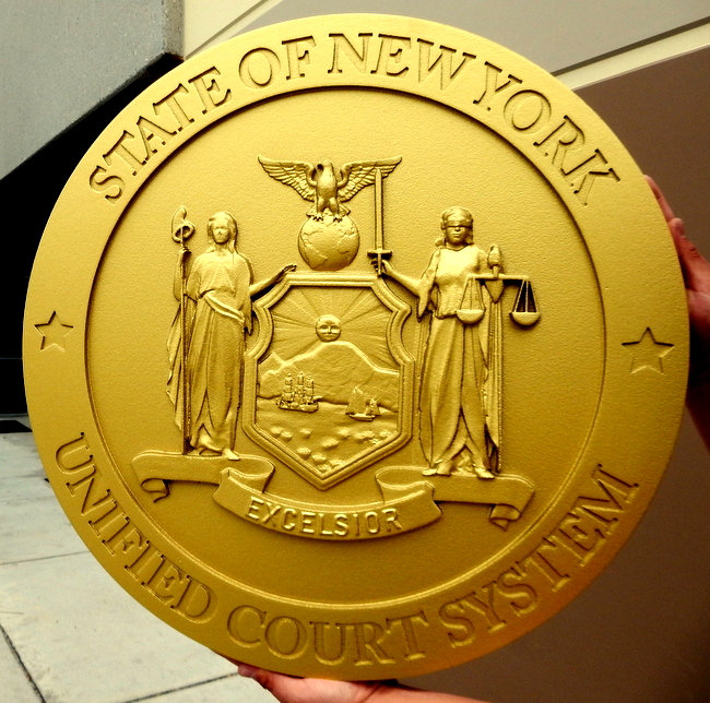 A10876- 3-D Gold Painted Wall Plaque of Seal of the State of New York, for the NY State Court System (Engraved Text)