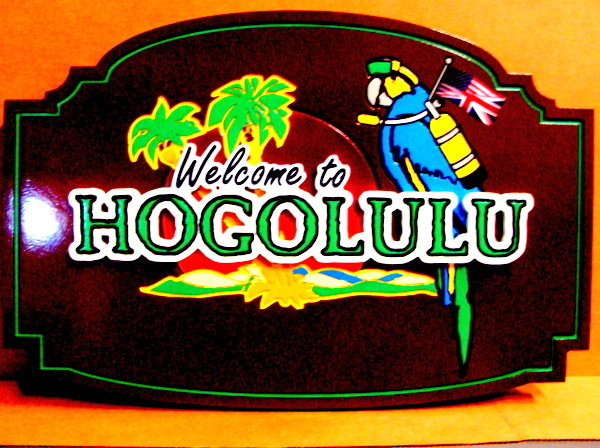 "L21918 - Carved Wood Coastal Residence Sign ""Hogolulu"". with Parrot wearing Scuba Gear"