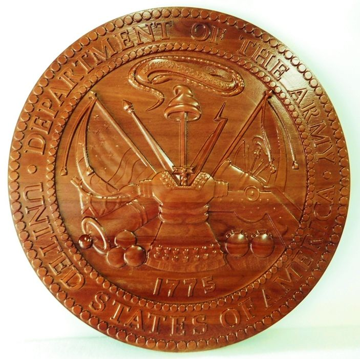MP-1090 - Carved Plaque of the Great Seal of the US Army (USA),Mahogany Wood